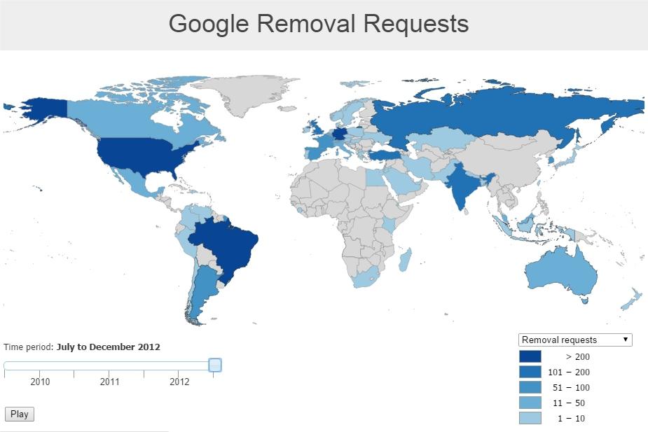 Статистика запросов и удалений данных в интернете