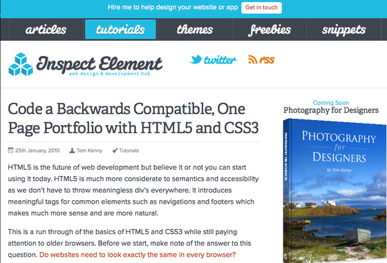 A Backwards Compatible HTML5 Portfolio