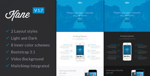 Посадочная страница для приложения: Kane - Responsive Bootstrap 3 App Landing Page