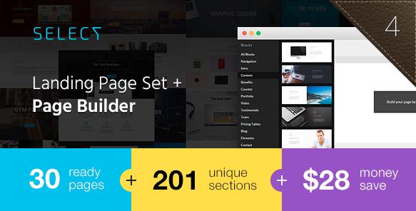 Посадочная страница для приложения: Select - Landing Page Set with Page Builder